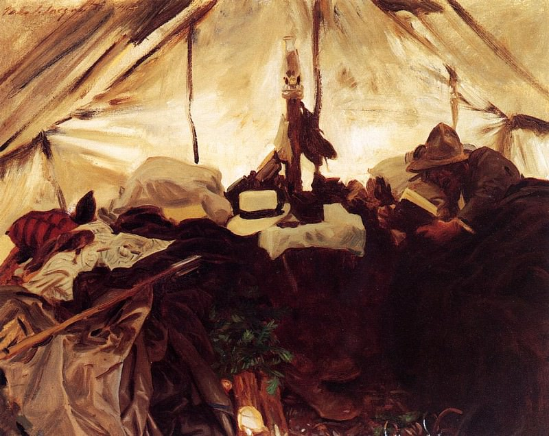 Inside a Tent in the Canadian Rockies. John Singer Sargent