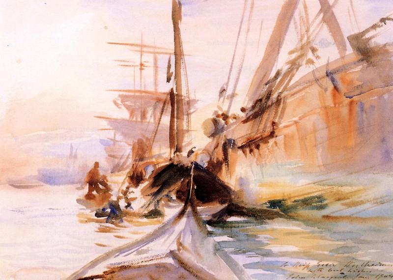 Unloading Boats, Venice. John Singer Sargent