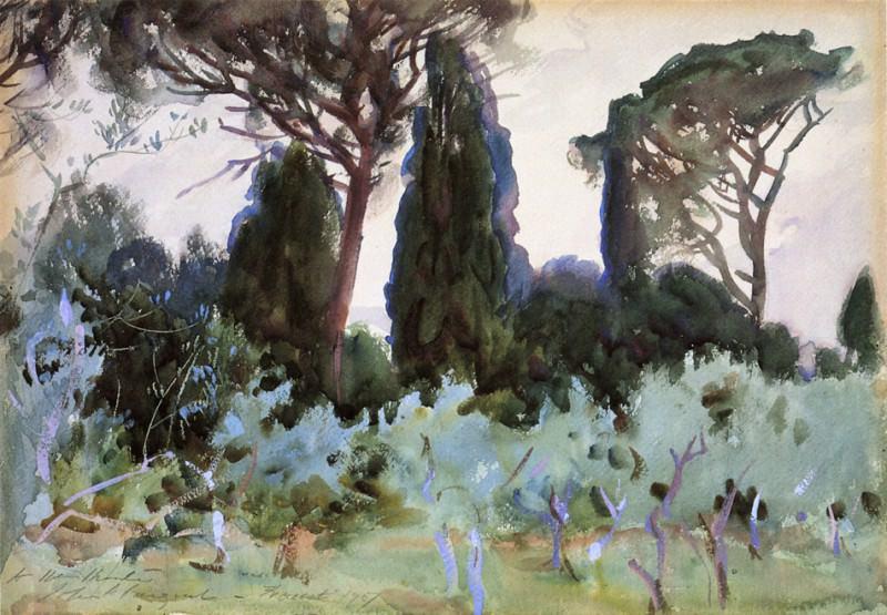 Landscape near Florence. John Singer Sargent