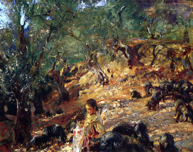 Ilex Wood at Majorca with Blue Pigs. John Singer Sargent