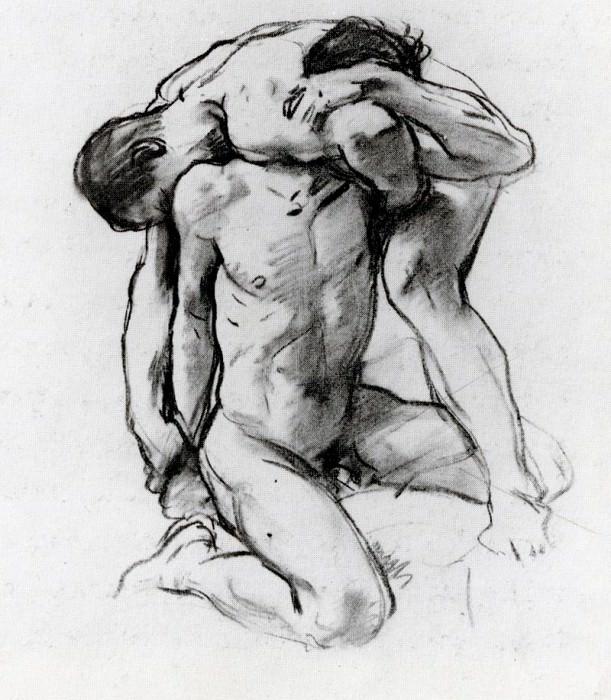 Male Nudes Wrestling. John Singer Sargent