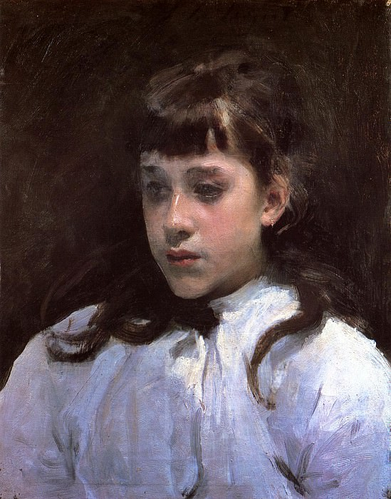Young Girl Wearing a White Muslin Blouse. John Singer Sargent