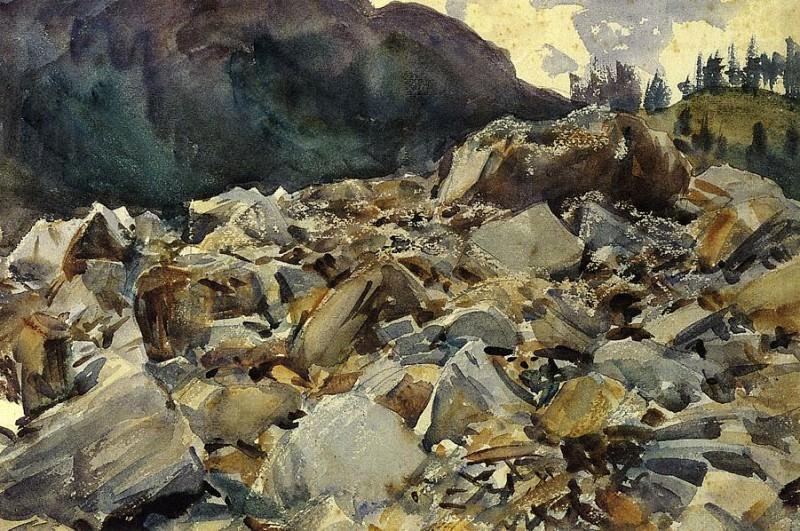 Purtud, Alpine Scene and Boulders. John Singer Sargent