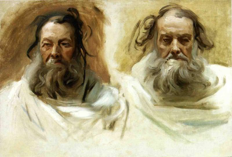 Study for Two Heads for Boston Mural. The Prophets. John Singer Sargent