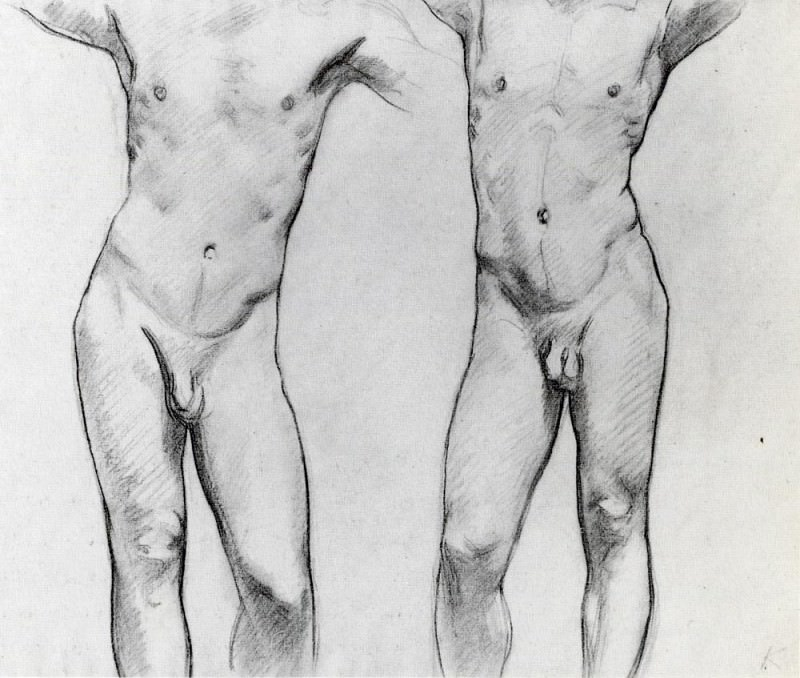 Torsos of two male nudes. John Singer Sargent
