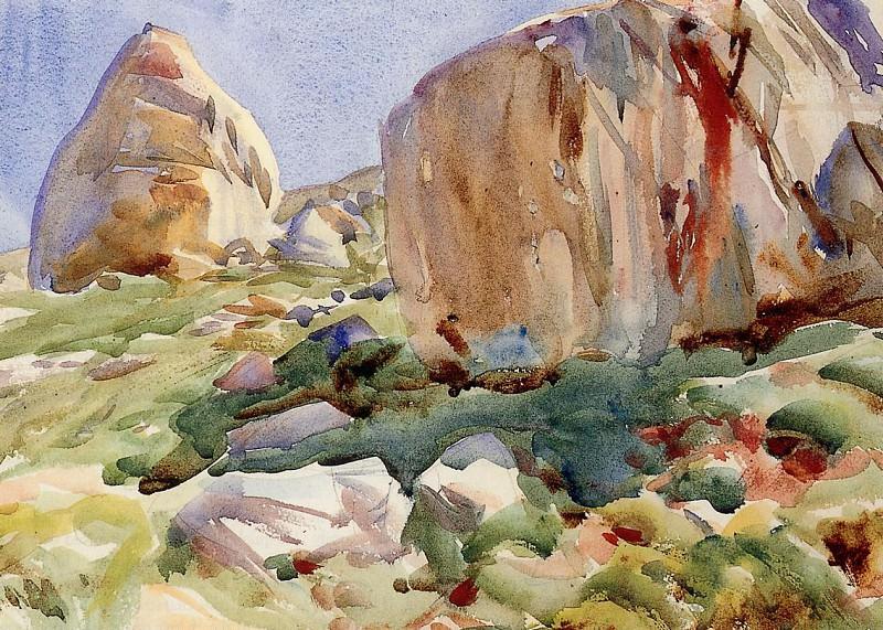 The Simplon. Large Rocks. John Singer Sargent