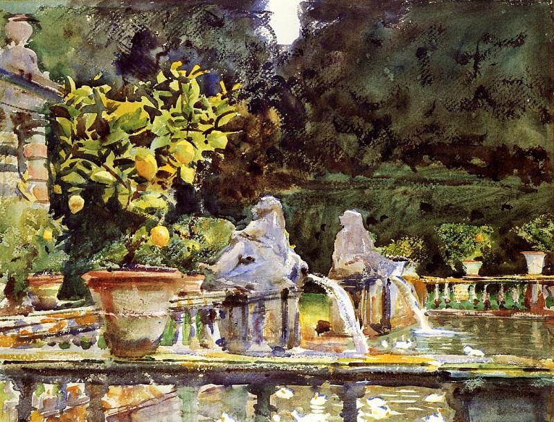 Villa de Marlia. A Fountain. John Singer Sargent