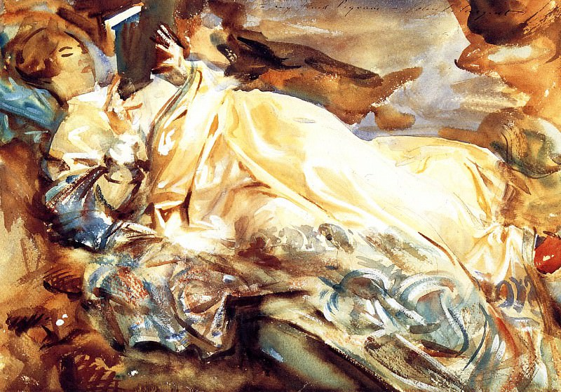 Woman Reading in a Cashmere Shawl. John Singer Sargent