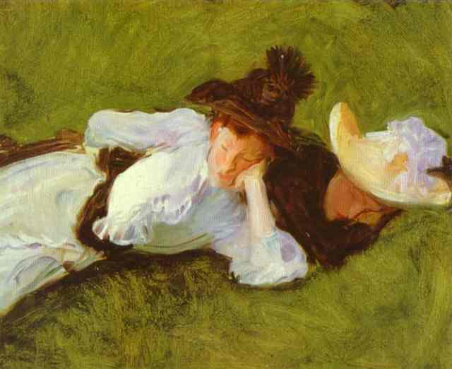 Two Girls on a Lawn. John Singer Sargent