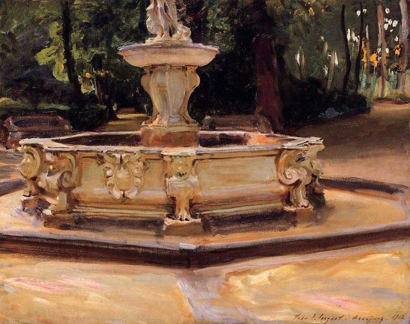A Marble Fountain at Aranjuez, Spain. John Singer Sargent