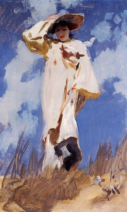 A Gust of Wind. Mrs. Violet Ormond (1870-1955), Artists Sister. John Singer Sargent