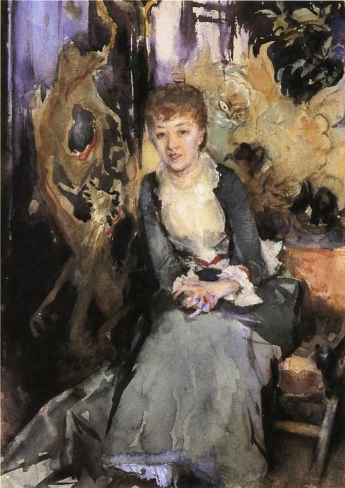 Miss Reubell Seated in Front of a Screen. John Singer Sargent
