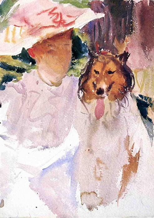 Woman with Collie. John Singer Sargent