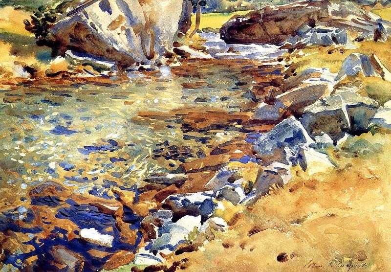 Brook among the Rocks. John Singer Sargent