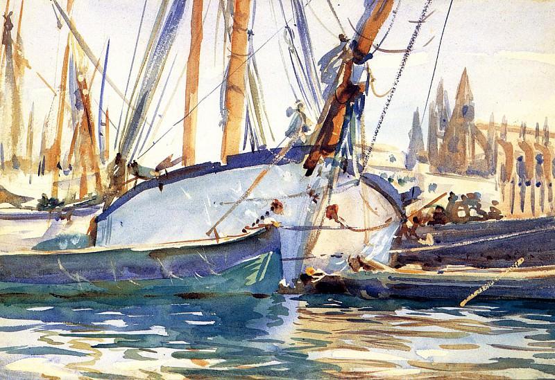 Shipping, Majorca. John Singer Sargent