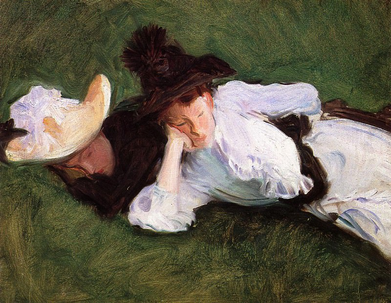 Two Girls Lying on the Grass. John Singer Sargent