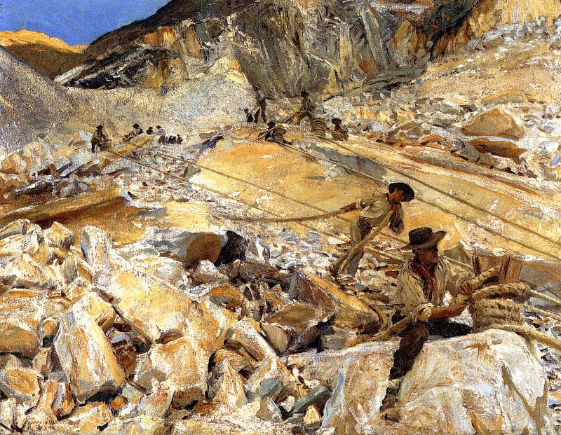 Bringing Down Marble from the Quarries to Carrara. John Singer Sargent