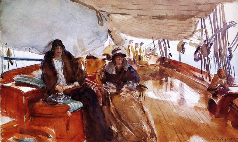 Rainy Day on the Deck of the Yacht Constellation. John Singer Sargent