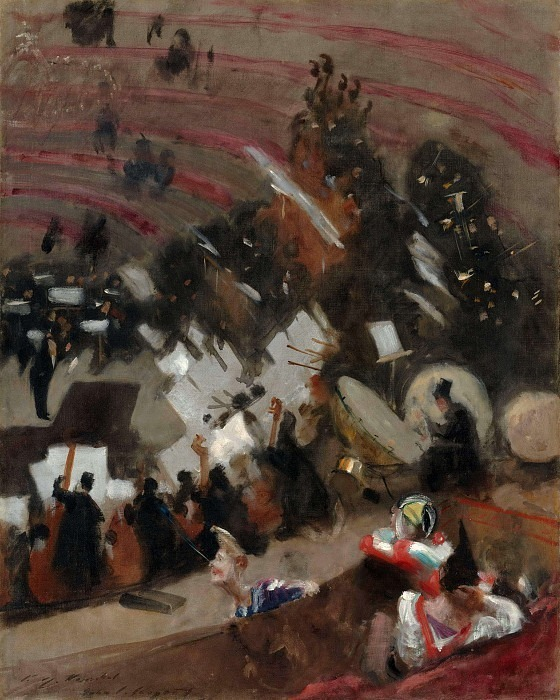 Rehearsal of the Pas de Loup Orchestra at the Cirque d'Hiver. John Singer Sargent