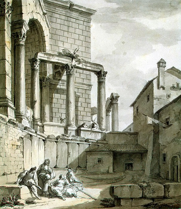 Klerisso, Charles-Louis - View of the Temple of Jupiter in the palace of Diocletian at Spalato. Hermitage ~ part 06