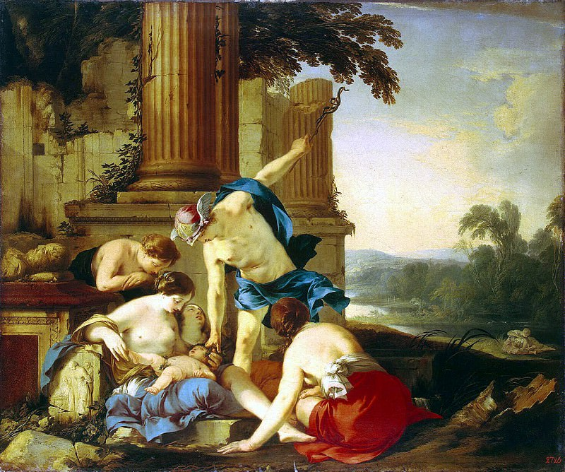 La Hire, Laurent de - Mercury passes Bacchus nymphs on education. Hermitage ~ part 06
