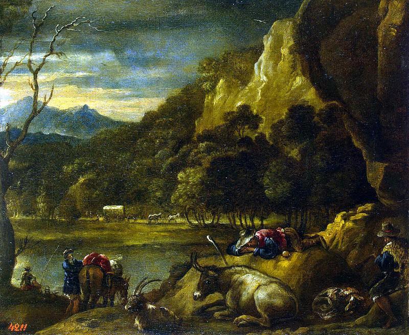 Castillo, Antonio del - Mountain landscape. Hermitage ~ part 06