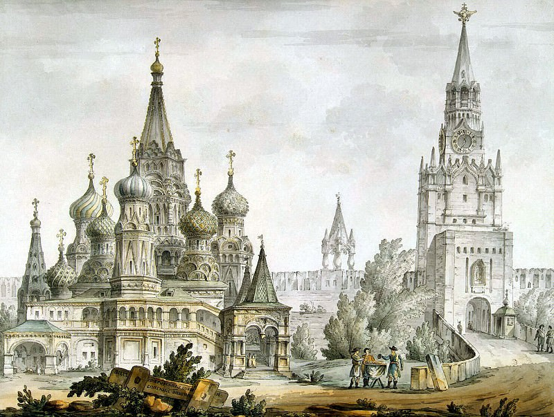 Quarenghi, Giacomo - Pokrovsky Cathedral and Spassky Tower in Moscow. Hermitage ~ part 06