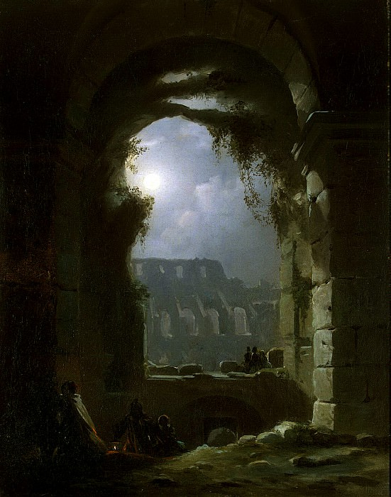 Carus, Carl Gustav - View Colosseum at night. Hermitage ~ part 06