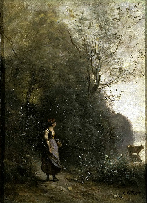 Corot, Jean-Baptiste-Camille - Peasant, grazing cows at the edge of the forest. Hermitage ~ part 06