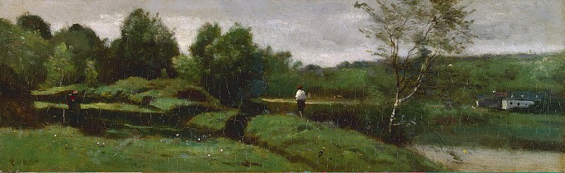 Corot, Jean-Baptiste Camille - Landscape with a boy in a white shirt. Hermitage ~ part 06