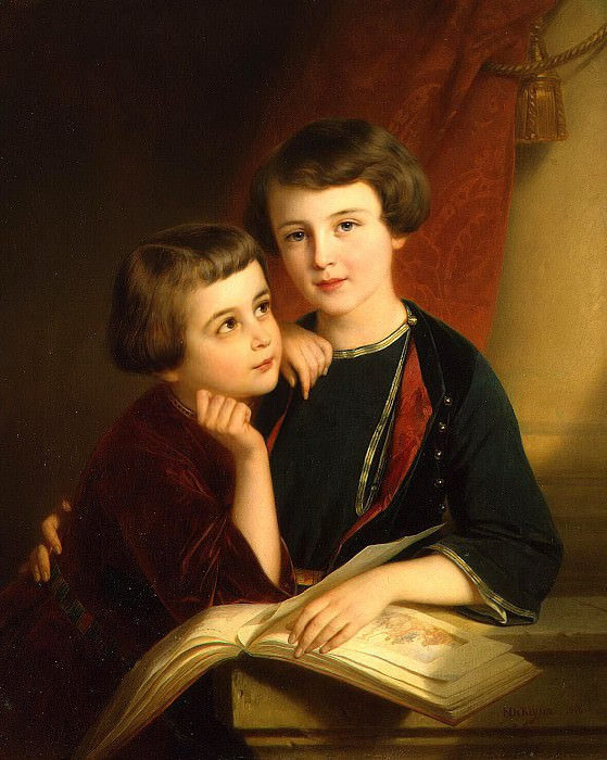 Keyser, Nicaise de - Portrait of the sons of Prince Gorchakov. Hermitage ~ part 06