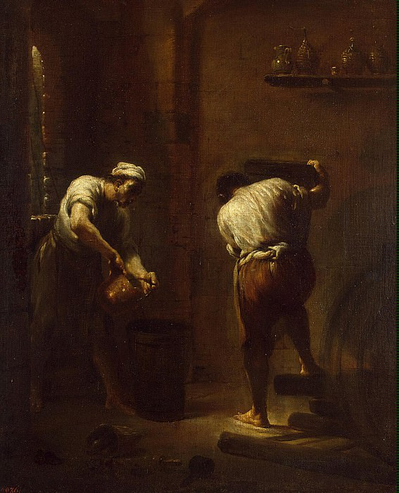 Crespi, Giuseppe Maria - The scene in the wine cellar. Hermitage ~ part 06