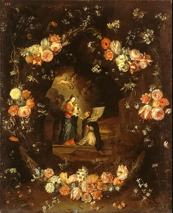 Kessel, Jan van the Elder - Madonna and Child with St. Idelfonso a garland of flowers. Hermitage ~ part 06