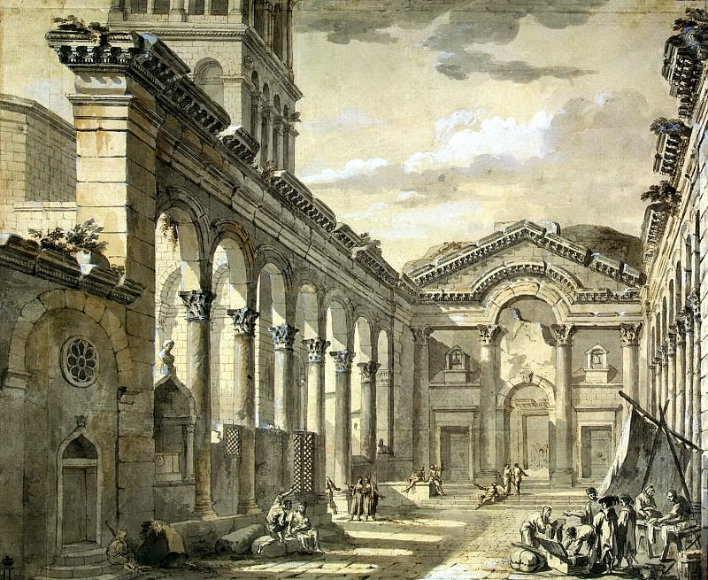 Klerisso, Charles-Louis - The lobby of the palace of Emperor Diocletian in Split (2). Hermitage ~ part 06