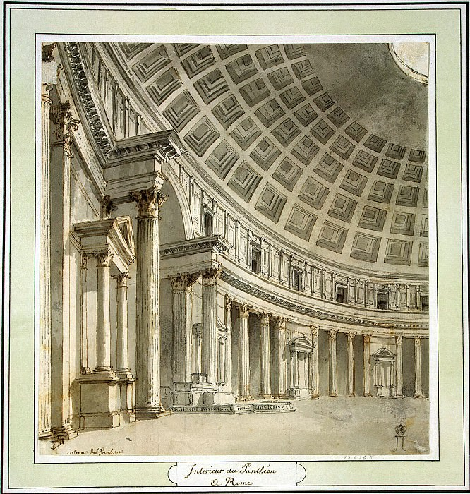 Klerisso, Charles-Louis - Interior of the Pantheon in Rome. Hermitage ~ part 06