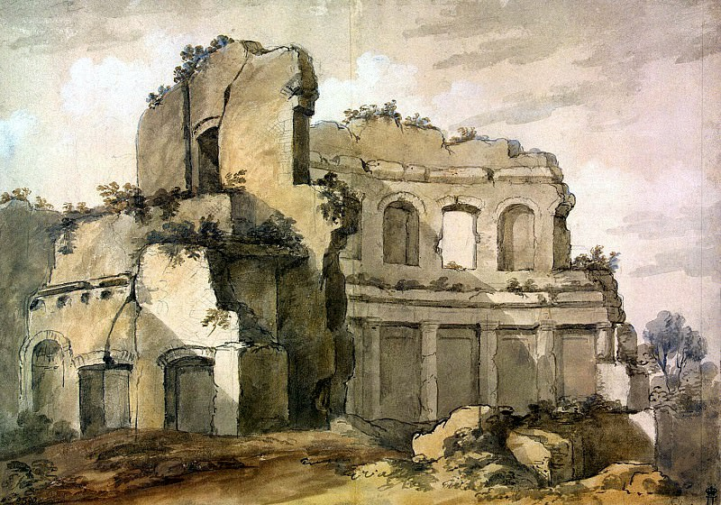 Klerisso, Charles-Louis - Temple of Apollo on the terrace of the Academy at the Villa of Emperor Hadrian in Tivoli. Hermitage ~ part 06