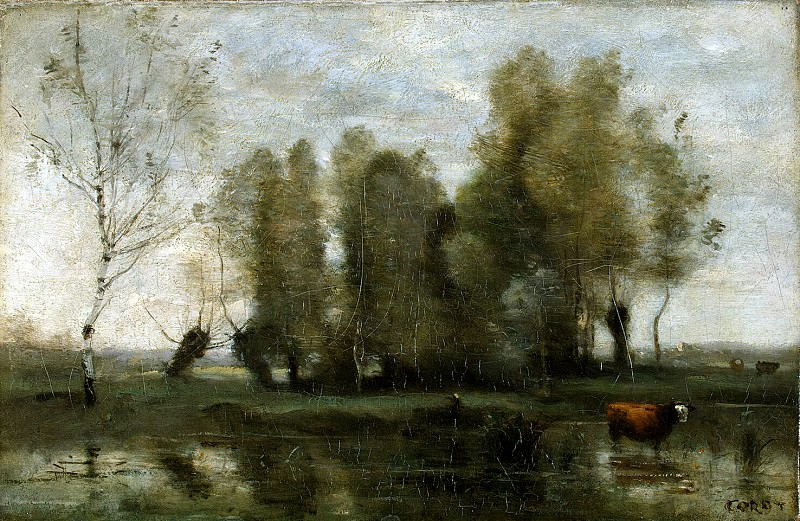Corot, Jean-Baptiste Camille - Trees in the swamps. Hermitage ~ part 06