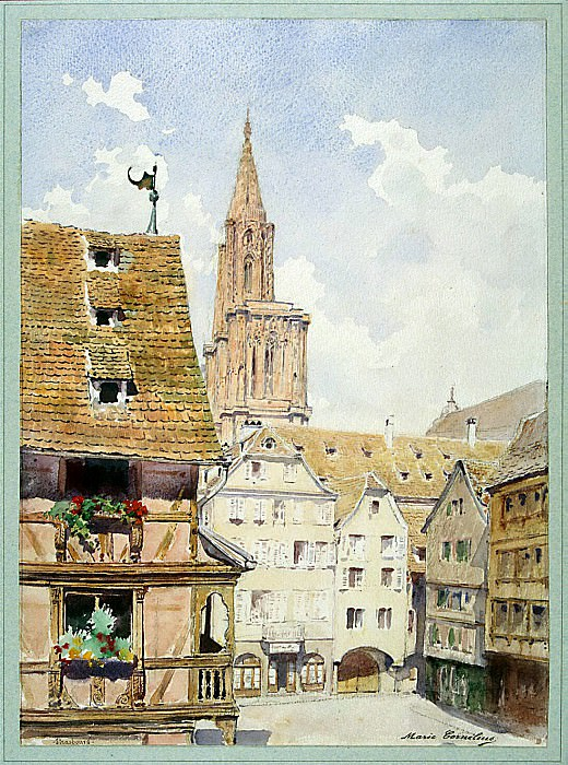 Cornelius, Mary Lucy - The street and the tower of the cathedral in Strasbourg. Hermitage ~ part 06
