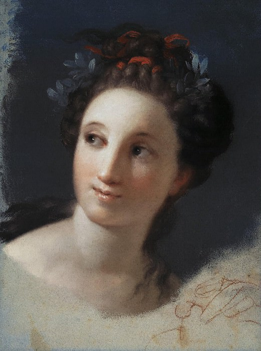 Carriera, Rosalba - Female Head with ribbon and laurel leaves in her hair. Hermitage ~ part 06