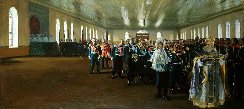 Kustodiyev Boris Mikhailovich - Church Parade of the Life Guards regiment Finland. Hermitage ~ part 06