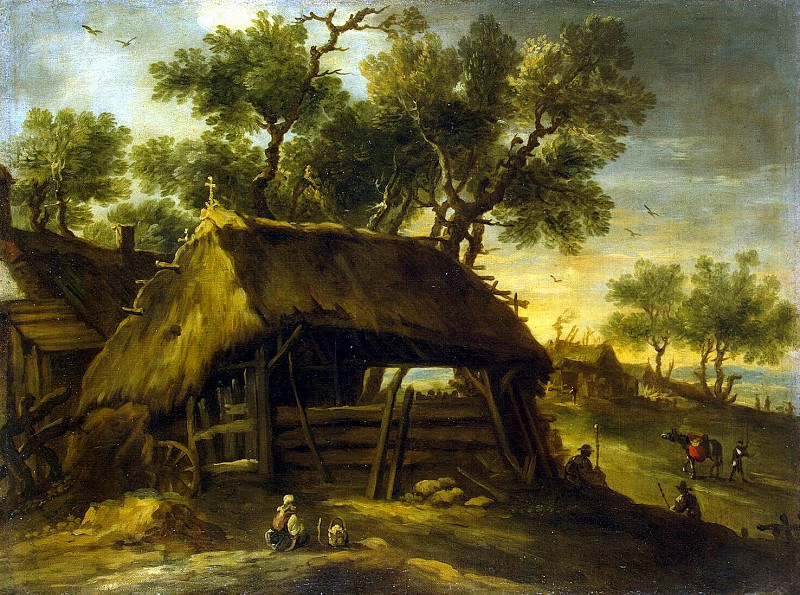 Castillo, Antonio del - Landscape with huts. Hermitage ~ part 06