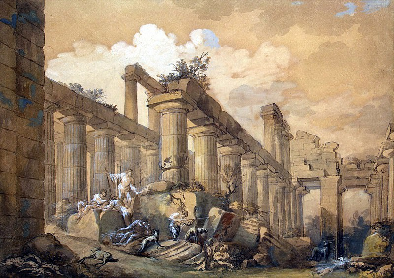 Klerisso, Charles-Louis - Ruins of the so-called Temple of Neptune in Paestum. Hermitage ~ part 06