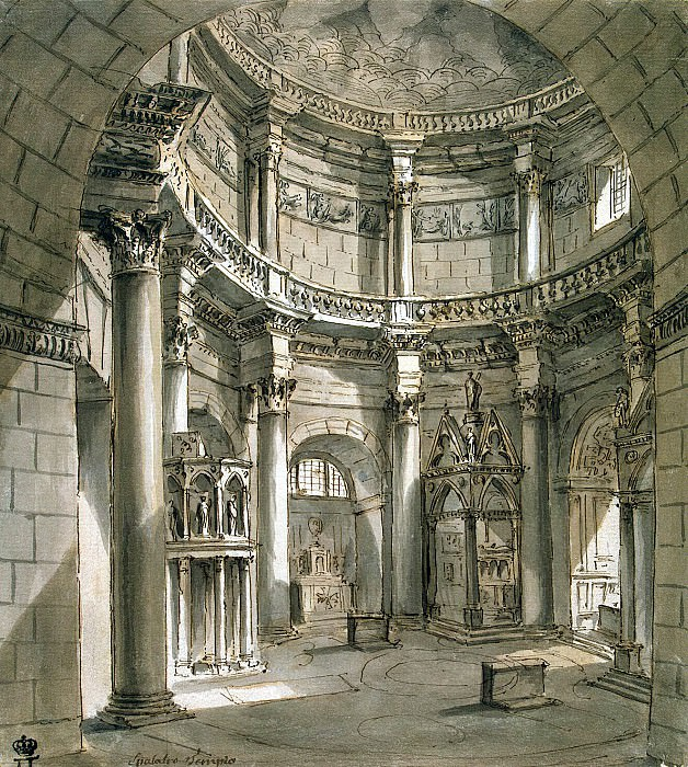 Klerisso, Charles-Louis - Interior of the temple of Jupiter in the palace of Diocletian at Spalato. Hermitage ~ part 06