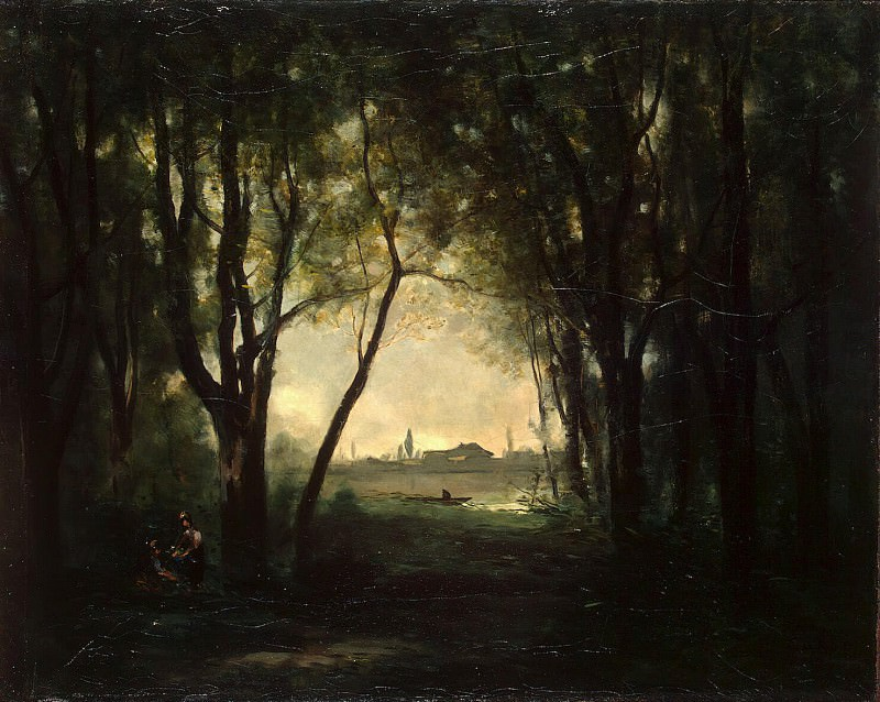 Corot, Jean-Baptiste Camille - Landscape with a lake. Hermitage ~ part 06