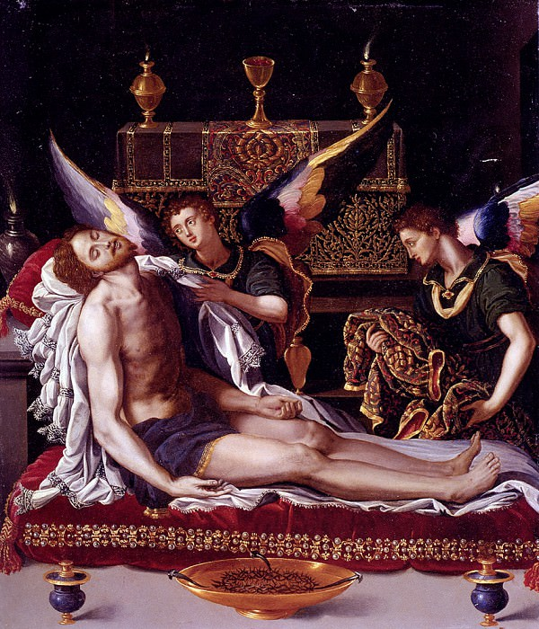 Allori Alessandro Dead Christ Attended By Two Angels. The Italian artists