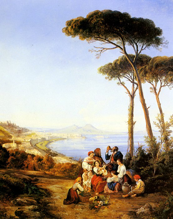 Carelli Consalve A Group Of Peasants With The Bay Naples Beyond. The Italian artists