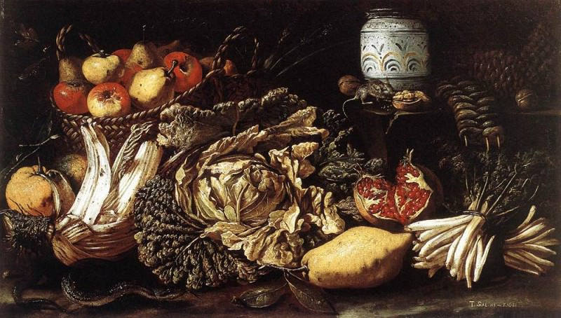 SALINI Tommaso Still life With Fruit Vegetables And Animals. Итальянские художники