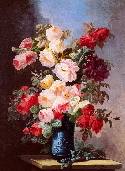 Viard Georges A Still Life With Roses And Peonies In A Blue Vase. The Italian artists