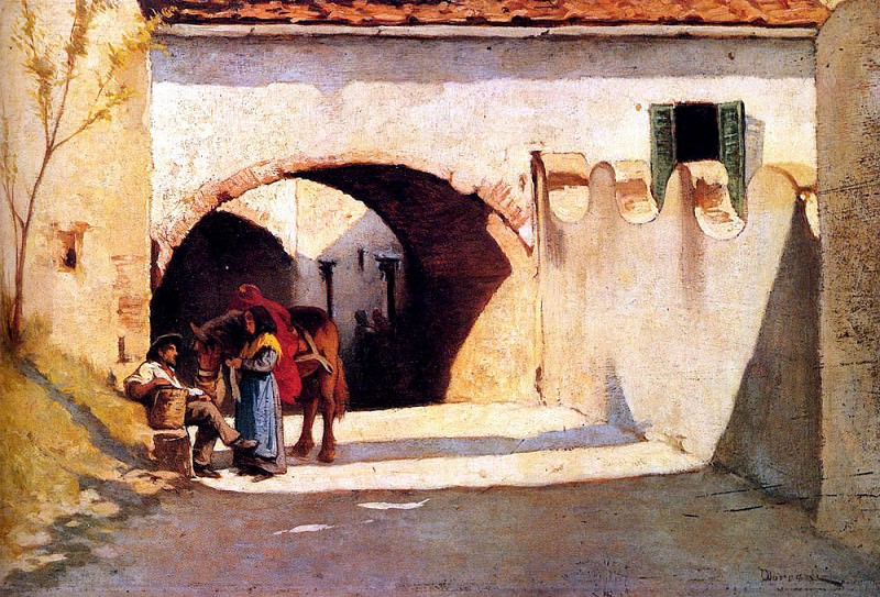 Borrani Odoardo Conversation On A Village Street. Итальянские художники
