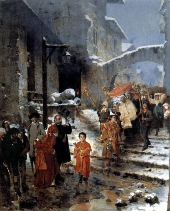 A Religious Procession in Winter. The Italian artists